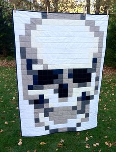 Skull Pixel Quilt MADE TO ORDER by oliveandbo on Etsy, $95.00