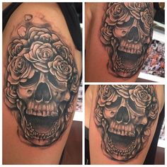 Black and grey skull with roses by Michael Clester. #skulltattoo #roses #tattoo #tattoos #ink #Inked #girlswithtattoos #guyswithink #maryville #knoxville #TN #art #artist #tattooartist