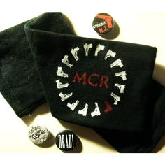 my chemical romance armband // three cheers for sweet revenge - black,... ($7) ❤ liked on Polyvore featuring accessories