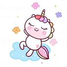 Cool unicorn relaxing on cloud with flower Premium Vector