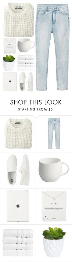 """serene time"" by noe-poterala ❤ liked on Polyvore featuring Acne Studios, Monki, Uniqlo, Alessi, Dogeared, Christy and New Look"