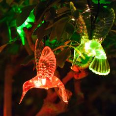 One Color, Color Change, Solar Fairy Lights, Solar Battery, Solar Power, Hummingbird, Plant Leaves, Led, 8 Hours