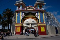 Luna Park at St Kilda beach in sunny Melbourne with the oldest continually operating roller coaster in the world - (operating since 1911)!!