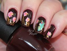 Hummingbird and floral nail art - Set in Lacquer