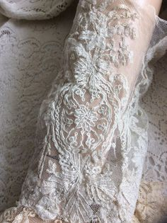 ~*Exquisite Antique 1800s Tambour Lace Sleeves/Ruffle Cuffs~Bridal/Dress*~ | eBay