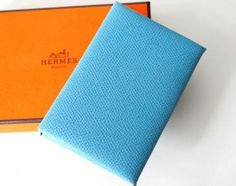 Authentic Hermes Blue Jean Leather Business Name Card Holder Case