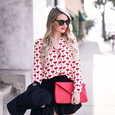 Heart printed blouse with a red envelope clutch. Valentine's Day Outfit, Outfit Of The Day, Outfit Ideas, Boho Fashion, Fashion Outfits, Womens Fashion, Female Fashion, Valentines Outfits, Valentine Stuff
