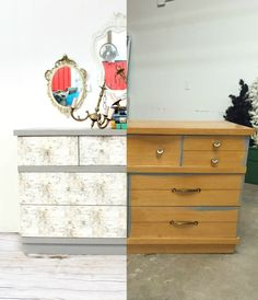Birch Bark Decoupaged Dresser Before And After How To Decoupage Textured Paper Refunk My