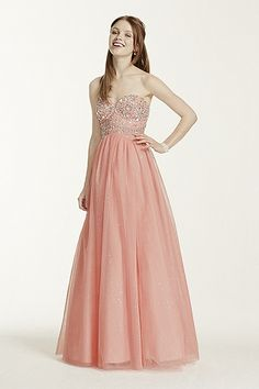 8145NR5C Strapless Hand Beaded Bodice Glitter Tulle Gown Style 8145NR5C In Store & Online $229.00 $114.50