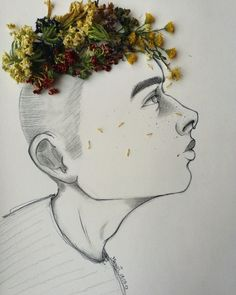 •A Crown of dried Flowers Art by .Moonset.