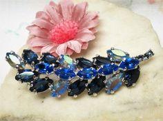 Sapphire Blue Rhinestone Branch Brooch Vintage by letsreminisce