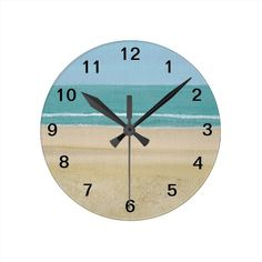 Sand Ocean Sky Waves Beach Wall Clocks, choose from round and square. #beachclock #clocks #beach