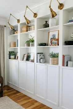 Ikea Billy Bookcase Hack, Wall Bookshelves, Built In Bookcase, Billy Bookcases, Billy Bookcase Office, Ikea Billy Hack, Ikea Wall Shelves, Bookcase Styling, Hallway Storage