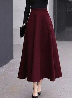 Stylish High Waist Big Hem Hairy Maxi Skirt - - Style High Waist Big Hem Woolen Maxi Skirt Source by ezpopsy Muslim Fashion, Modest Fashion, Hijab Fashion, Fashion Dresses, Long Skirt Fashion, Feminine Fashion, Fashion Sewing, Fashion Fashion, Trendy Fashion