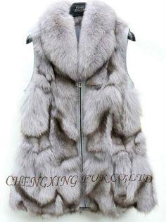 CX-G-B-111D Wide Collar Real Silver Fox Fur Women Vest