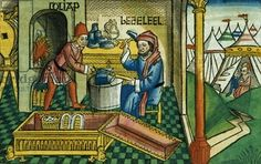 Exodus 31 2-8 Bezalel and Oholiab making the Ark of the Covenant, from the 'Nuremberg Bible (Biblia Sacra Germanaica)' (coloured woodcut), 1483
