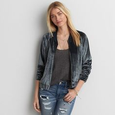 AE Velvet Bomber Jacket ($60) ❤ liked on Polyvore featuring outerwear, jackets, grey, bomber jacket, blouson jacket, zip front jacket, grey bomber jacket and american eagle outfitters jacket
