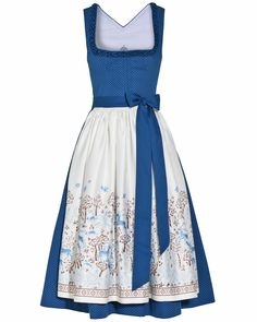I have been looking for this dirndl- Found! Blue with illustrated or embroidered apron. This one by LODENFREY | TOSTMANN Insa Dirndl kurz mit Schürze 799,00 €