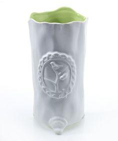 Look what I found on #zulily! White & Green Emblem Vase #zulilyfinds