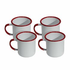 Vintage Inspired White Enamel Coffee Mug Set of Four with Red Trim #Unbranded #Vintage
