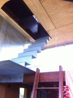 Coolest Bedroom I've seen! Peter Stuchbury - Pittwater House. Photo Alice Wilkinson. Folded Galvanised Iron steps down from kitchen trapdoor, straight to bed on stilts. Ladder from there down to main bedroom area. What kid (with a good sense of balance) could not love this room! FYI there is another entrance to the outdoors. Also love the Ply ceiling and Danpalon windows.