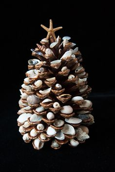 Treasures of The Sea Decorative Pinecone Tree by Susandeanart, $30.00