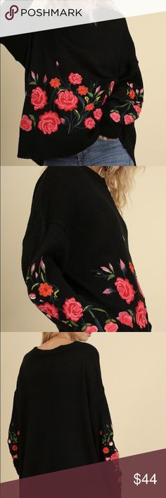 Floral Embroidered Sweater BRAND NEW w/ tags. Bought from distubtror. Firm on price unless bundled. This is must have for fall!!! Runs big. Is suppose to be oversized. Umgee Sweaters Crew & Scoop Necks