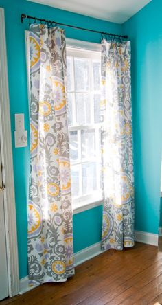 No sew curtains - use iron-on tape for hem (or sew) and clip on curtain rings