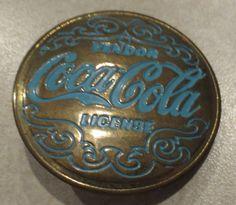 Vintage Antique Coca Cola Brass & Blue Enamel Vendor License Pin / Badge