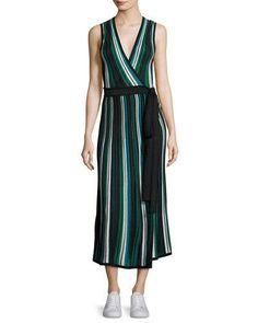 DIANE VON FURSTENBERG Cadenza Metallic Striped Sleeveless Wrap Dress. #dianevonfurstenberg #cloth #