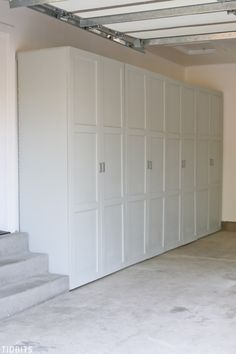 Garage Storage Cabinets Take back control of your garage! Free building plans fo… Garage Storage Cabinets Take back control of your garage! Free building plans for garage storage cabinets to organize all your tools, household supplies, automotive supplies Armoire Garage, Garage Lockers, Br House, Garage House, Garage Closet, Dream Garage, Car Garage, Basement Closet, Front Closet