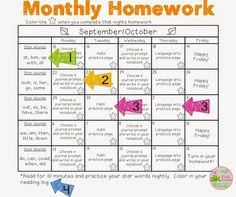 Monthly Homework - an easy, consistent way to do homework. 1st Grade Homework, Kindergarten Homework, First Grade Classroom, Do Homework, 1st Grade Math, Teaching Kindergarten, Homework Ideas, Teaching Ideas, Second Grade