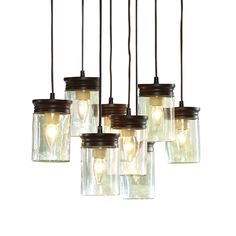 Zoomed: allen + roth 24-in W Oil-Rubbed Bronze Pendant Light with Clear Shade