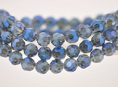 70pcs Round Faceted Crystal Glass Beads 8mm Montana Blue by Nbeads