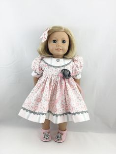 """18"""" American Girl Doll Clothes So Sweet Blush Pink and Grey Spring Dress Short Sleeved Matching Hair Bow"""