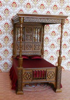 Dollhouse Miniatures Stately Canopy Bed 1/12th by ScarletSails,  Beautiful -- nice for the Wizard?
