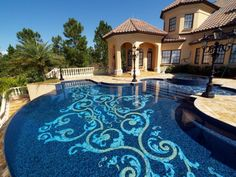 A custom design to fit this architecture and pool like a glove. design manufacture and install by Mosaicist. Swimming Pool Mosaics, Swimming Pool Designs, Pool Spa, Luxury Pools, Pool Builders, Beautiful Pools, Pool Landscaping, Pool Backyard, Outdoor Pool