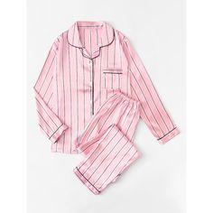 SheIn(sheinside) Striped Satin Long Pajama Set (160 SEK) ❤ liked on Polyvore featuring intimates, sleepwear, pajamas, lingerie sleepwear, striped pjs, satin pyjamas, long sleepwear and long pjs