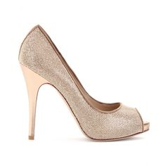 Gorgeous tan and gold-toned glitter peep-toe pumps by Valentino