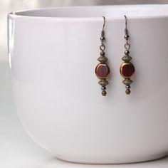 Oriental Lantern Earrings Ruby red by JackieLittleMiller on Etsy, $5.50