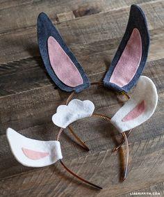 Diadema con orejas de conejo fieltro, patrón gratis para descargar