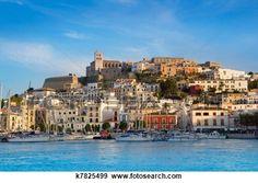 Ibiza Eivissa town with blue Mediterranean View Large Photo Image