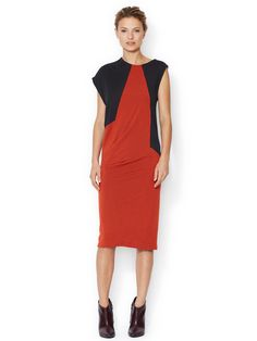 A-symmetrical Wool Colorblock Dress | Pringle of Scotland