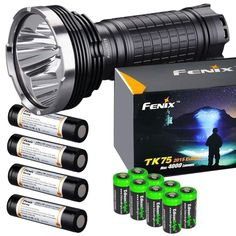 FENIX TK75 4000 Lumen 2015 Edition 4 CREE XM-L2 U2 LED Flashlight with Four Fenix ARB-L2M 18650 Batteries and eight EdisonBright CR123A lithium batteries bundle *** This is an Amazon Affiliate link. Find out more about the great product at the image link.