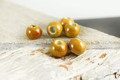 Mustard Yellow Ceramic Beads 9mm, Enameled Round Spacer Beads, 3mm hole, Glazed Ceramics, 5 pieces