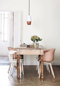 #home - nude chairs, white and wood kitchen table