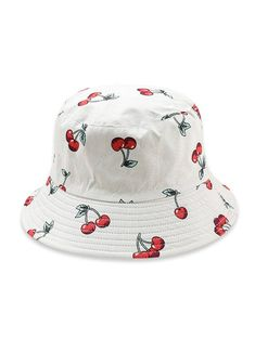 Fruit Pattern Bucket Hat Hat Type: Bucket Hats Group: Adult Gender: For Women Style: Casual Pattern Type: Plant Material: Cotton Season: Summer Weight: Package: 1 x Bucket Hat Look Com Bucket Hat, Bucket Cap, Cool Bucket Hats, Red Bucket Hat, Bucket Hat Outfit, Cute Fruit, Fruit Pattern, Cute Hats, Outfits With Hats