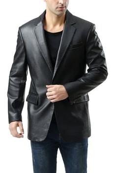 Dynamic Hot Collections Soft Lambskin Leather Blazer For Stylish Looking Men to provide you a Modern Slim Tailored Fit. Mens Leather Blazer, Leather Box, Lambskin Leather, Leather Jackets, Male Fashion, Blazers, Suit Jacket, Stylish, Classic