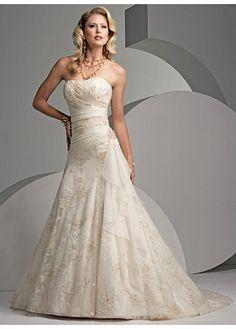 Beautiful Elegant Exquisite A-line Strapless Wedding Dress In Great Handwork