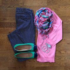 Coral Sweater, Old Navy Pixie Pants, Lilly Pulitzer Lucky Charms Murfee Scarf   #workwear #officestyle #likektit   www.liketk.it/1jzuQ   IG: @whitecoatwardrobe